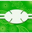 Frame on a green background with paisley pattern vector image