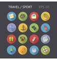Flat icons for travel and sport vector image