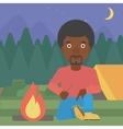 Man kindling campfire vector image vector image