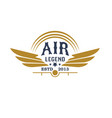 aviation retro icon with plane propeller and wings vector image