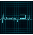 Medical technology concept -heartbeat with laptop vector image