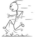 stickman cartoon of fast running man vector image