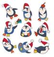 Penguin in christmas hat doodle vector image
