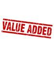 Square grunge red value added stamp vector image
