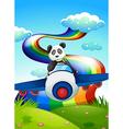 A plane with a panda near the rainbow vector image vector image