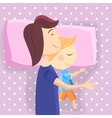 Happy mom and son sleep together vector image