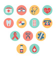Colorful medical icon set in trendy flat style vector image