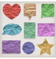 Labels or symbols of colored crumpled paper vector image