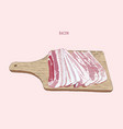 bacon sliced on wood tray sketch vector image