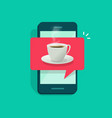 coffee cup on mobile phone vector image