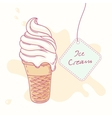Hand drawn ice cream sundae in waffle cone vector image