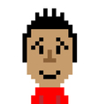 Red shirt man smile emoticon pixel art character vector image