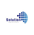 solution tech logo vector image
