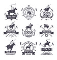 sport labels for polo games monochrome silhouette vector image