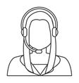 woman avatar and headphones graphic vector image