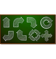 Different shapes of arrows on blackboard vector image
