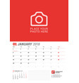 Wall calendar planner for 2018 year january print vector image
