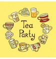 Tea Party Card with doodle cups vector image