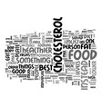 Best food to lower cholesterol diet text word vector image