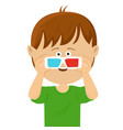 cute little boy wearing 3d glasses vector image