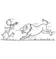stickman cartoon of tourist running away from lion vector image