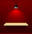 Wooden shelf illuminated by lamp vector image