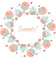 Cupcakes and berries garland frame or vector image