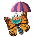 butterfly character holding umbrella vector image