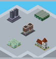 isometric building set of tower house warehouse vector image