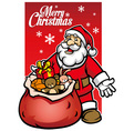 santa with a bunch of christmas gift vector image