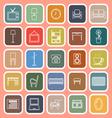 Living room line flat icons on orange background vector image