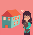 Girl and her Dog Next to their New Home vector image