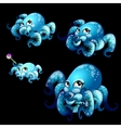 Set blue cute octopuses on a black background vector image