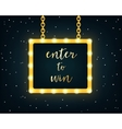 Enter to Win Golden Sign on Marquee Lights Board vector image