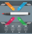 abstract marker drawing 3d infographics vector image