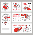 cute set sketch of funny santa vector image