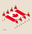 eight people hold big flag vector image