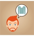 face man bearded clothes blue sweater hipster vector image