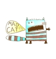 Mad cat freaky funny hand drawn animal watercolor vector image
