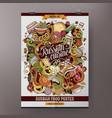 cartoon doodles russian food poster vector image