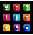 Flat icons of wine set for webmobile application vector image