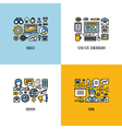 Line icons set of SEO UI and UX design SMM HR vector image