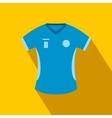 Blue baseball t-shirt flat icon vector image