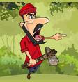 cartoon lumberjack with axe threatening finger vector image