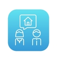 Couple dreaming about house line icon vector image