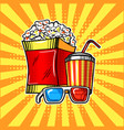 popcorn drink and colorful cinema glasses vector image