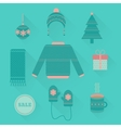 set of holiday Christmas icons in flat style vector image