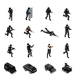 Special Weapons Unit Isometric Icons Collection vector image