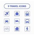 Travel and transport icon set for Web and Mobile vector image
