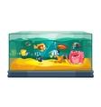 Cartoon freshwater fishes in tank aquarium vector image